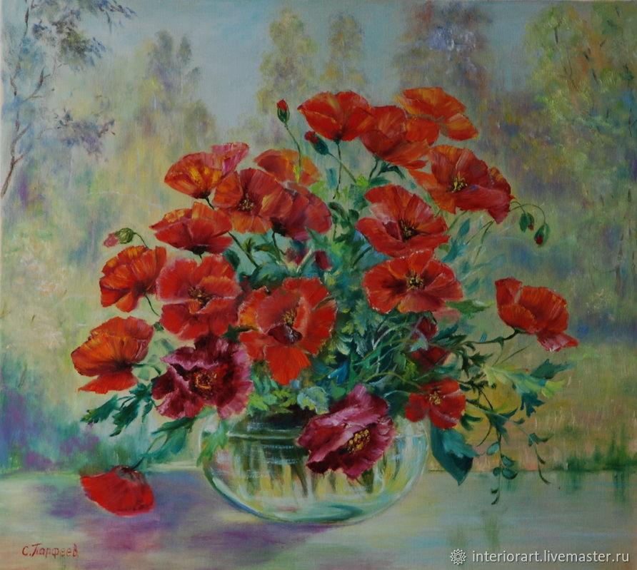 """Картина  маслом """"Маки в стеклянной вазе"""". натюрморт, Картины, Великий Новгород,  Фото №1"""