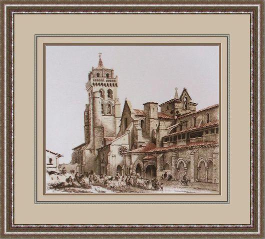 Город ручной работы. Ярмарка Мастеров - ручная работа. Купить старинный монастырь. Handmade. Город, вышивка, канва Аида