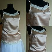Одежда handmade. Livemaster - original item Top of silk satin with lace. Handmade.