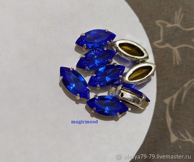 1 piece Czech rhinestone 15h7mm Sapphire Navette Czech crystals in DACs, Rhinestones, Chelyabinsk,  Фото №1