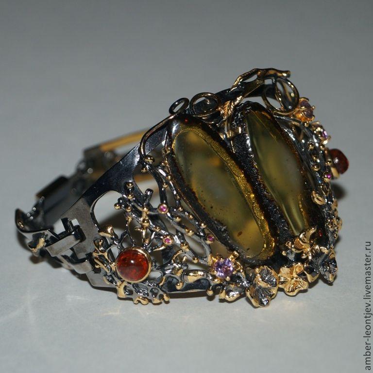 Браслет серебро позолота янтарь