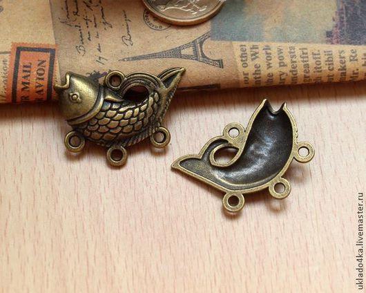 """Шитье ручной работы. Ярмарка Мастеров - ручная работа. Купить Подвеска-фитинг бронзовая """"Рыба"""". Handmade. Подвеска, подвески для бижутерии"""
