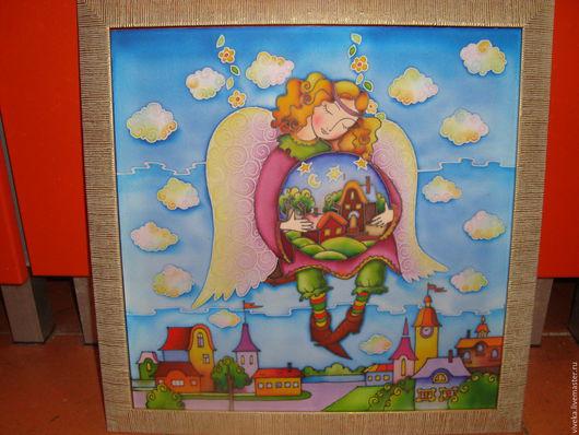 """Детская ручной работы. Ярмарка Мастеров - ручная работа. Купить Картина для детской комнаты батик """" Ангел хранитель"""". Handmade."""