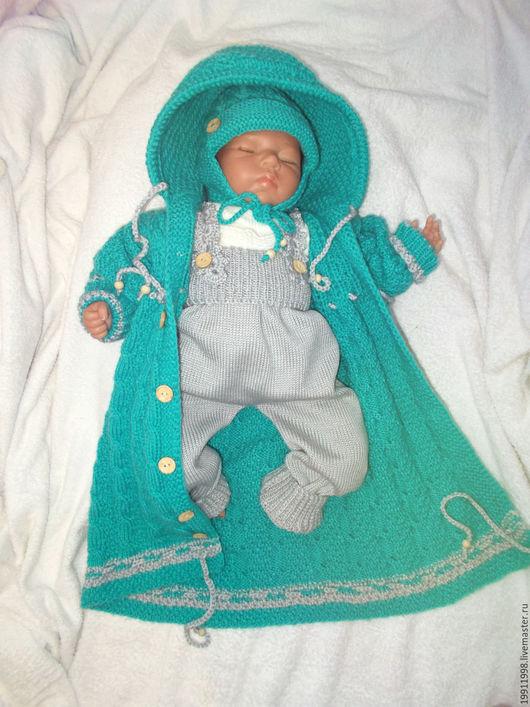 Для новорожденных, ручной работы. Ярмарка Мастеров - ручная работа. Купить Пальто-конверт,комбинезон и шапочка. Handmade. Бирюзовый, комбинезон