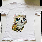 T-shirts handmade. Livemaster - original item Women`s t-Shirt with hand-painted