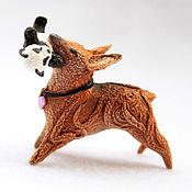 Куклы и игрушки ручной работы. Ярмарка Мастеров - ручная работа Фигурка Собачка С Пандой (собака породы чихуахуа). Handmade.