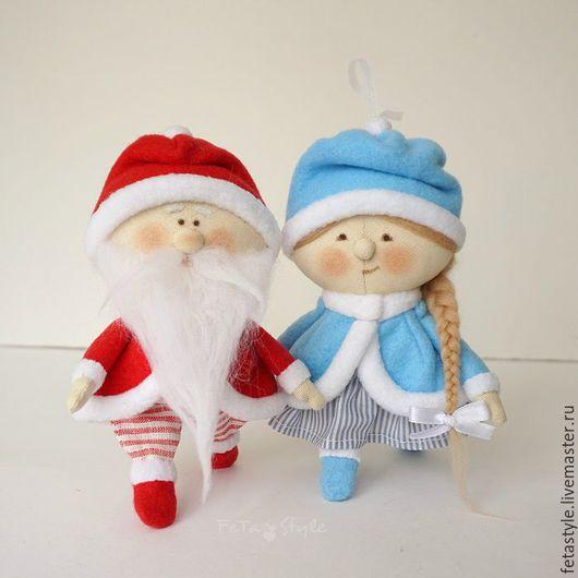 Куклы Тильды ручной работы. Ярмарка Мастеров - ручная работа. Купить Дед Мороз и Снегурка Текстильные куклы - подвески Игрушка на Елку. Handmade.