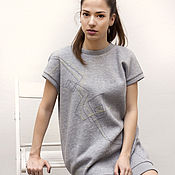 Одежда ручной работы. Ярмарка Мастеров - ручная работа Трикотажное спортивное платье с вышивкой / Серый свитшот. Handmade.
