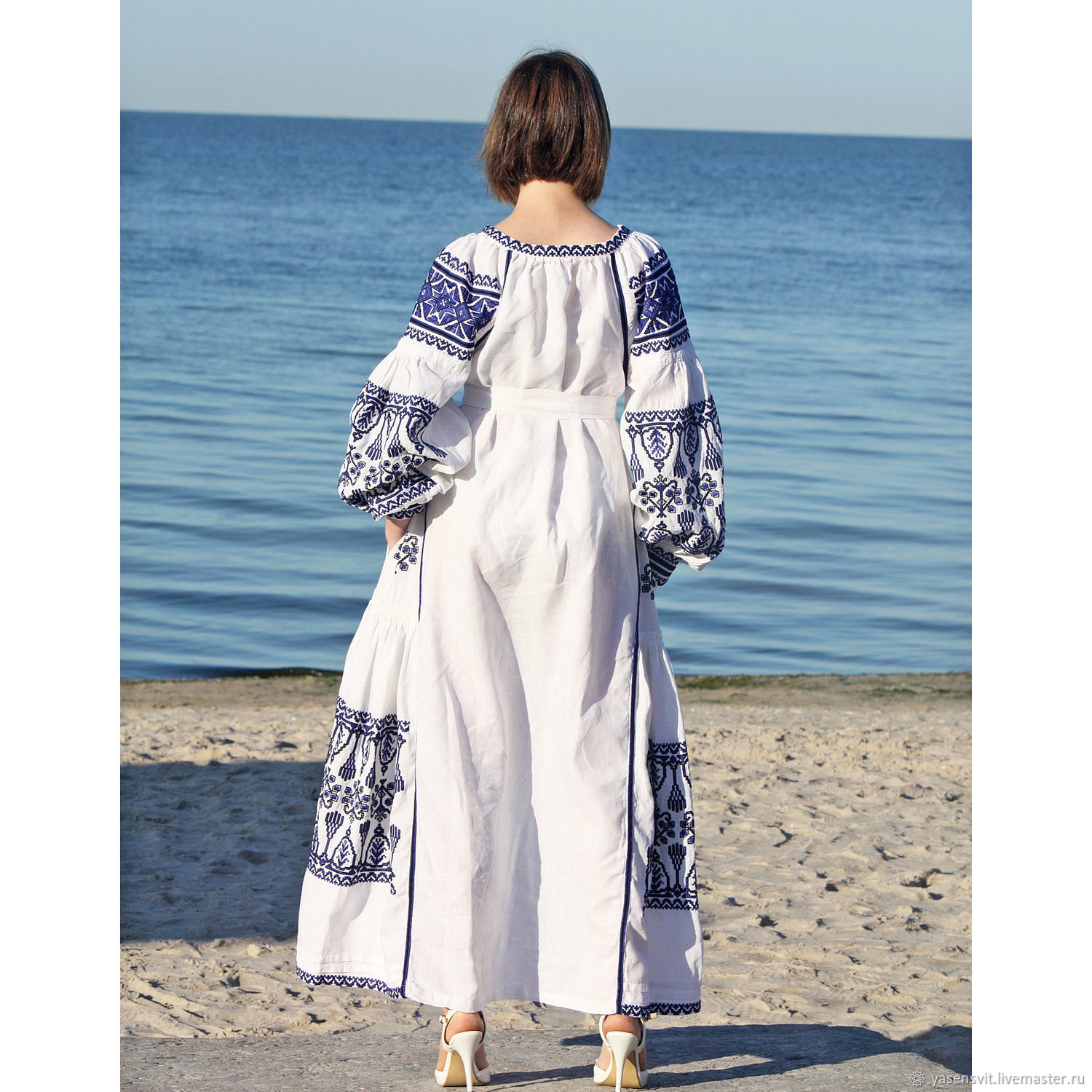 Linen embroidered dress Embroidery Long dress – shop online on ...