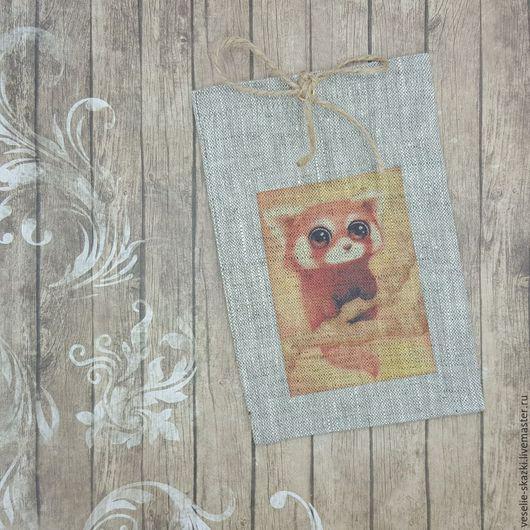 Льняные мешочки, упаковка подарков, 10х15 см, Енот, Веселые сказки (Светлана), фото, картинка