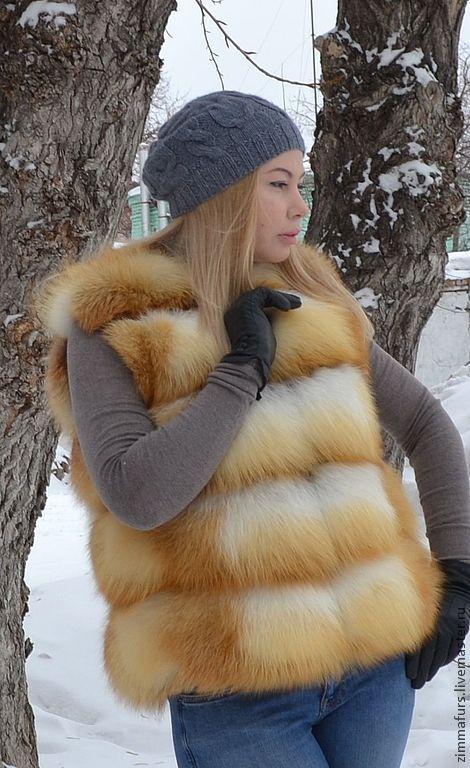 Vest fur Siberian red Fox. Transverse layout, Vests, Omsk,  Фото №1