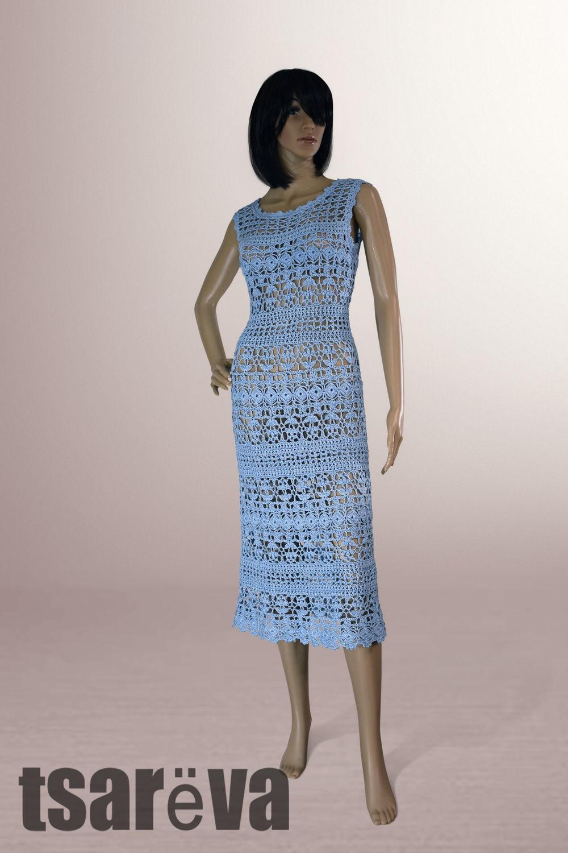 Crochet dress Sheila. Handmade summer women blue crochet dress, Dresses, Odessa,  Фото №1