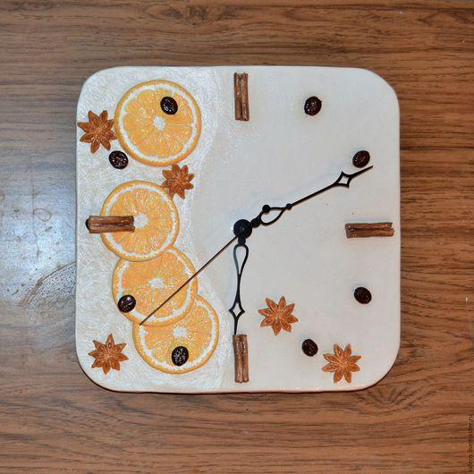 Часы для дома ручной работы. Ярмарка Мастеров - ручная работа. Купить Часы настенные Апельсинки 2. Handmade. Оранжевый, часы