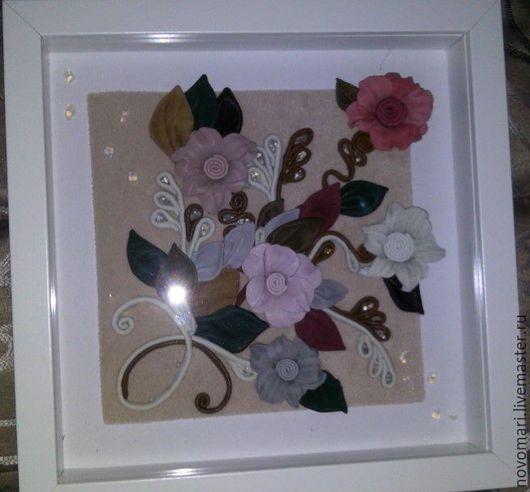 Картины цветов ручной работы. Ярмарка Мастеров - ручная работа. Купить Ключница цветы  из натуральной кожи. Handmade. Белый