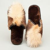 Обувь ручной работы. Ярмарка Мастеров - ручная работа Домашние тапочки из меха норки и лисы. Handmade.