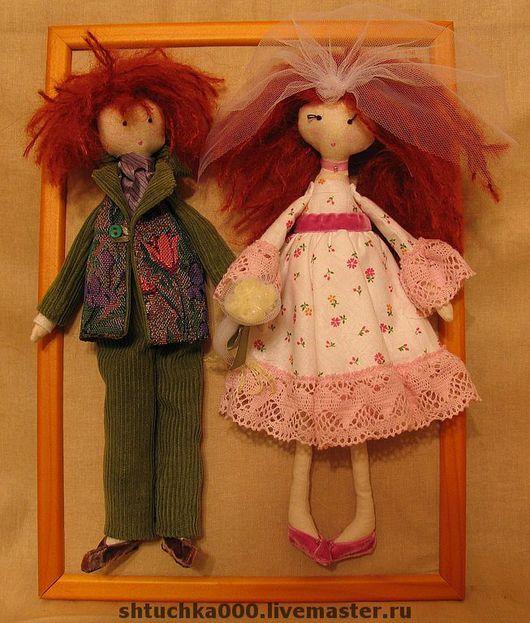 """Куклы Тильды ручной работы. Ярмарка Мастеров - ручная работа. Купить Текстильные куклы """"Счастливая парочка"""". Handmade. Свадьба, невеста"""