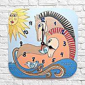 Часы классические ручной работы. Ярмарка Мастеров - ручная работа Часы настенные Нежность Лошадки, часы ручной работы. Handmade.