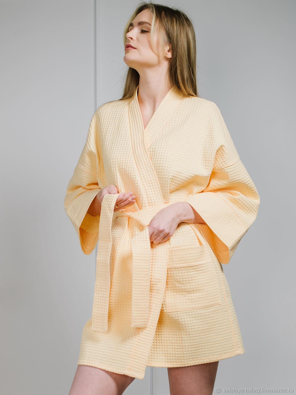 Халат-кимоно до колена из вафельного хлопка, Халаты, Москва,  Фото №1