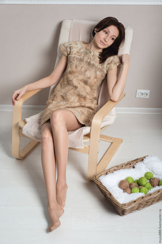 Платья ручной работы. Ярмарка Мастеров - ручная работа. Купить Платье gentle beige. Handmade. Бежевый, платье валяное, кудри