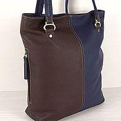 Кожаная авторская сумка Enigma, шоколад и темно-синий цвет