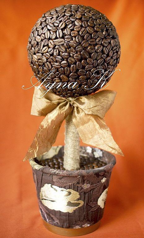 """Топиарии ручной работы. Ярмарка Мастеров - ручная работа. Купить Топиарий """"Кофейный 1"""". Handmade. Кофе, декоративное дерево, макраме"""