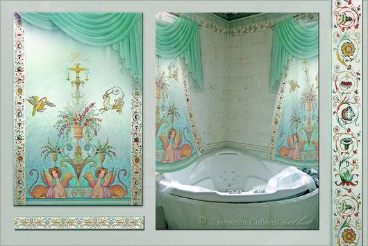 Ванная комната ручной работы. Ярмарка Мастеров - ручная работа. Купить Шторы для ванной-комнаты. Handmade. Морская волна