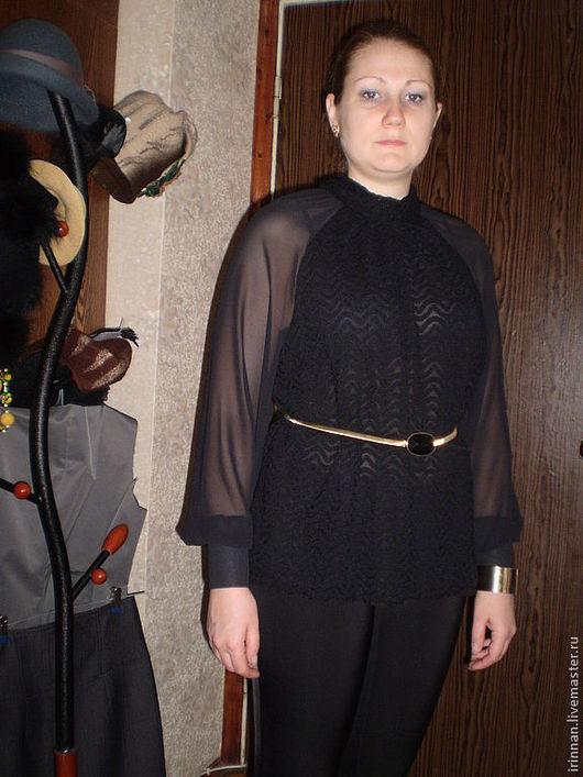 Блузки ручной работы. Ярмарка Мастеров - ручная работа. Купить Блуза   Гипюр+ шифон. Handmade. Черный, блузон