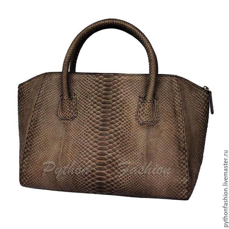 Bag genuine Python leather. Beautiful bag made of Python zip. Women's small bag handmade. Fashionable bag made of Python skin. Brown pimonova bag custom. Stylish bag made of Python.