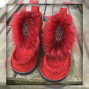 """Обувь ручной работы. Ярмарка Мастеров - ручная работа Валеши с мехом """"Заря"""". Handmade."""