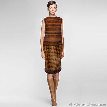 """Одежда ручной работы. Ярмарка Мастеров - ручная работа Роскошная юбка в стиле """"шанель"""" с отделкой мехом норки. Handmade."""