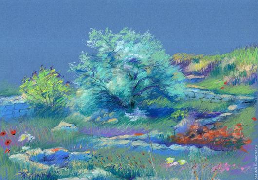 Пейзаж ручной работы. Ярмарка Мастеров - ручная работа. Купить Картина пастелью Весна на развалинах  Херсонеса. Handmade. Голубой