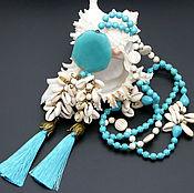 Украшения handmade. Livemaster - original item Long turquoise beads with pendants-brushes