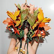 """Украшения ручной работы. Ярмарка Мастеров - ручная работа заколка- краб для волос""""Кленовый лист"""" украшение из кожи. Handmade."""