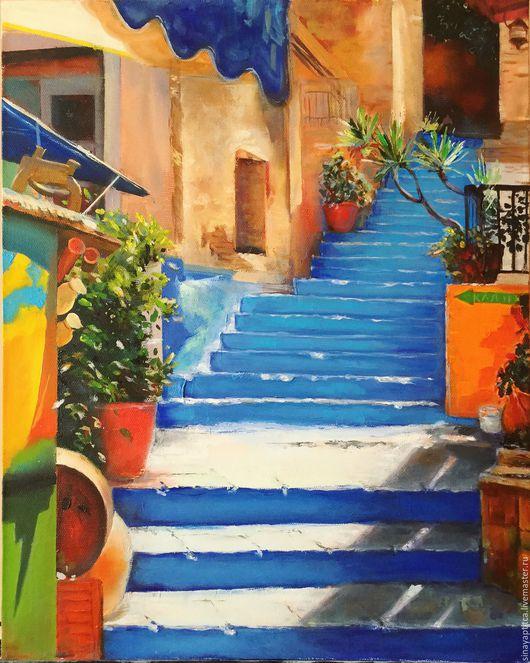 """Город ручной работы. Ярмарка Мастеров - ручная работа. Купить Картина """"Лестница к морю. Испания."""". Handmade. Синий, красный"""