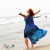 Одежда handmade. Livemaster - original item Feather dress magic bird - silk batik. Handmade.
