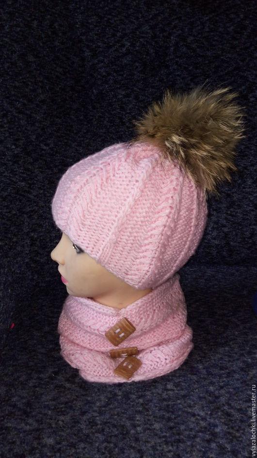 Шапки и шарфы ручной работы. Ярмарка Мастеров - ручная работа. Купить Комплект для девочки. Handmade. Розовый, комплект для девочки, снуд