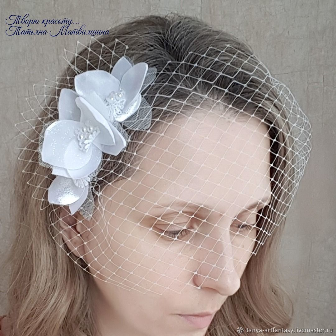 The wedding veil. The veil for bride. The veil with flowers, Veil hat, Vladivostok,  Фото №1