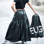 Одежда handmade. Livemaster - original item Black skirt with long flounces, polyester - SK0252PL. Handmade.