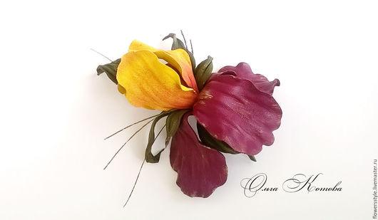 Броши ручной работы. Ярмарка Мастеров - ручная работа. Купить Брошь цветок Ирис из кожи Сады Эдема желтый и марсала. Handmade.
