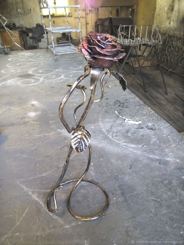 """Интерьерные композиции ручной работы. Ярмарка Мастеров - ручная работа. Купить Цветы: Кованая роза """"Elegance"""" на подставке. Handmade. Цветы"""