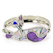 Украшения handmade. Livemaster - original item Bracelet Cat. Bracelet with charoite, turquoise, lapis lazuli, mother of pearl.. Handmade.