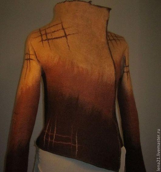 Верхняя одежда ручной работы. Ярмарка Мастеров - ручная работа. Купить куртка ассиметричная желто-коричневая. Handmade. Коричневый