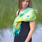 Аксессуары handmade. Livemaster - original item Felted silk scarf - Symphony of the sea. Handmade.