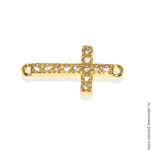 Для украшений ручной работы. Ярмарка Мастеров - ручная работа. Купить Коннектор крест с фианитами, желтое золото (Milano). Handmade.