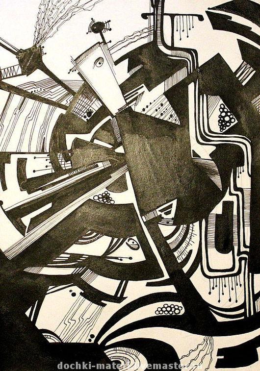 """Абстракция ручной работы. Ярмарка Мастеров - ручная работа. Купить Картина """"Движение"""". Handmade. Абстракция, черный, чёрно-белый, графика"""