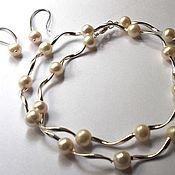 Украшения handmade. Livemaster - original item Silver and pearl necklace 45 cm, earrings. Handmade.