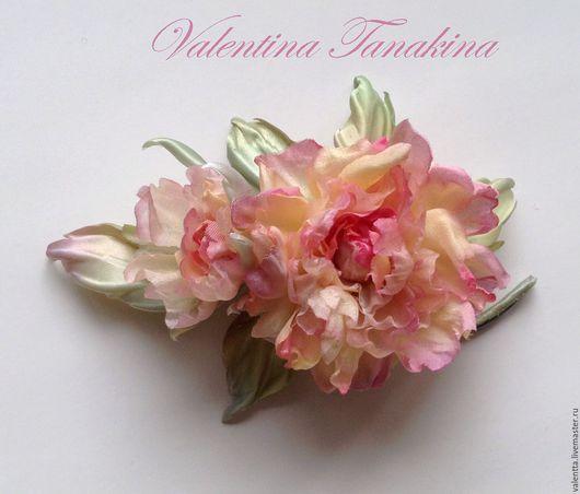 Цветы ручной работы. Ярмарка Мастеров - ручная работа. Купить цветок из  натурального шелка пушистая роза (бутоньерка). Handmade. Розовый
