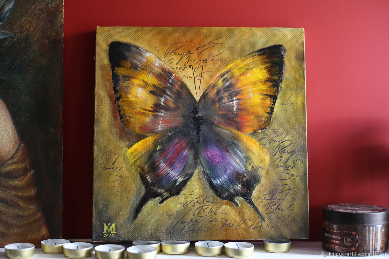 Картина с Фиолетовой Желтой бабочкой Каллиграфия маслом, Картины, Самара, Фото №1