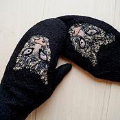 Аксессуары handmade. Livemaster - original item Felted mittens Predatory merino. Handmade.