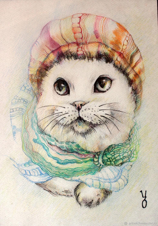 """Картина графика пастель """"Кот в шапке"""", Картины, Москва,  Фото №1"""